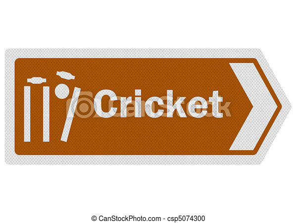 Tourist information series: photo-realistic metallic, reflective 'cricket' sign, isolated on white - csp5074300