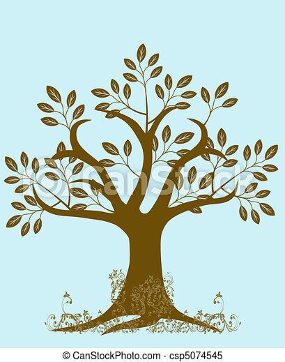 Abstract Tree Silhouette with Leaves and Vines Brown - csp5074545