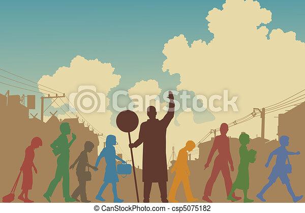 Children crossing - csp5075182