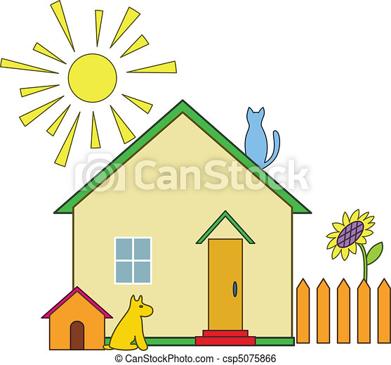 Clip art vector of small house house with the dog kennel for Drawing of small house