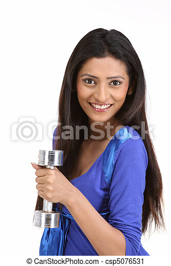 Health cautious woman with dumbbell - csp5076531