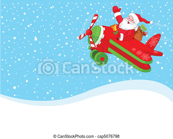 Santa is flying in an airplane - csp5076798