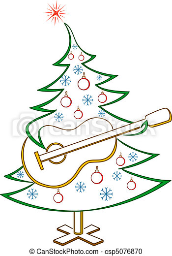 Fir-tree with guitar, pictogram - csp5076870
