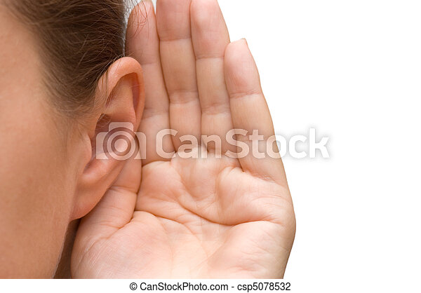 Girl listening with her hand on an ear - csp5078532