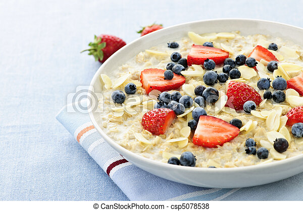 Oatmeal breakfast cereal with berries - csp5078538