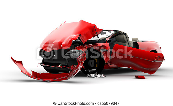 Red car accident - csp5079847