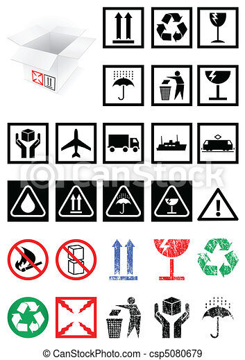Set of packing symbols and labels. - csp5080679
