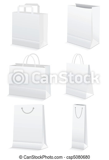 Blank paper shopping & grocery bags - csp5080680