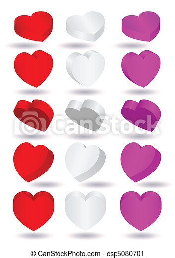 Three-dimensional heart shapes. - csp5080701