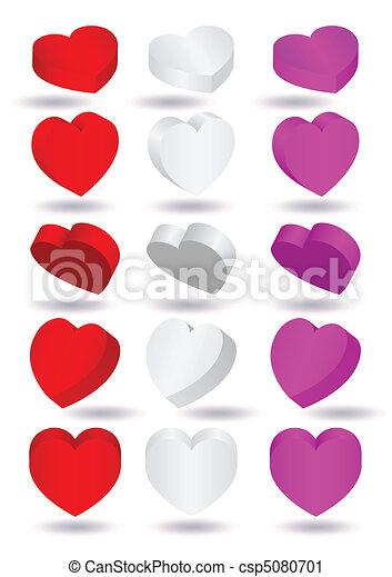 Three-dimensional heart shapes. - csp5080701