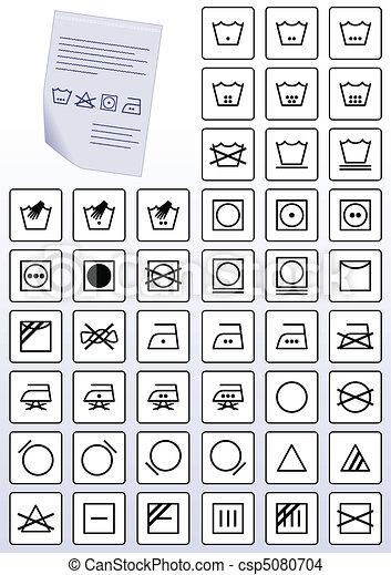 Apparel care instruction symbols. - csp5080704