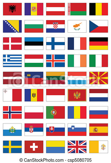 Flag set of all European countries. - csp5080705