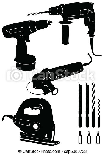 Set of 4 different power tools. - csp5080733