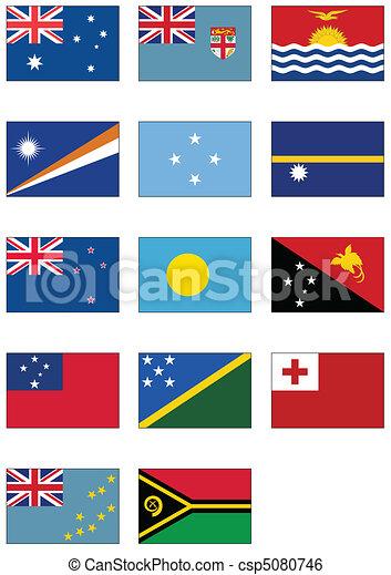 Australian & Oceania flag set - csp5080746
