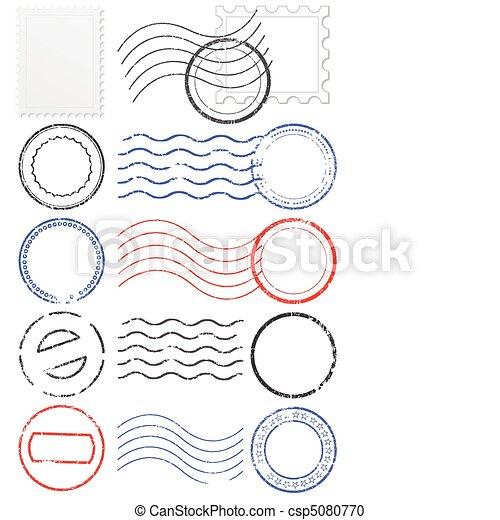 Vector set of postmarks & stamps. - csp5080770
