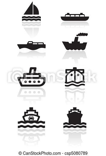 Boat symbol illustration set - csp5080789