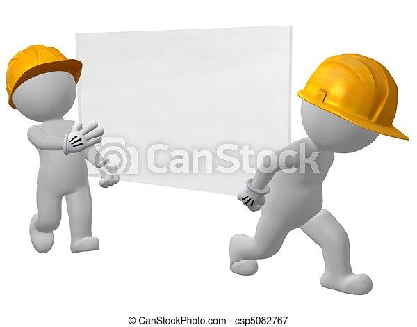 two work men carrying pane of glass - csp5082767