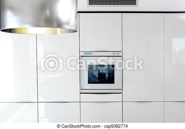 kitchen white oven modern architecture detail - csp5082774