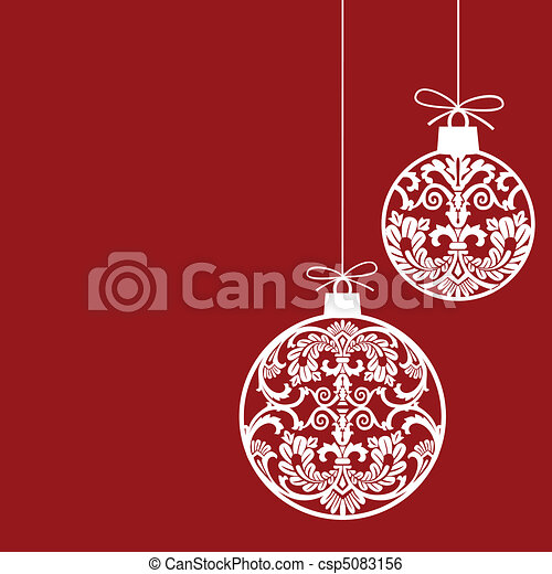 Clip Art Vector of Christmas ornaments balls - Hanging christmas balls ...