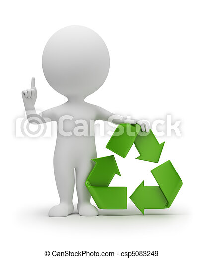 3d small people with a recycling symbol - csp5083249