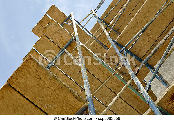 New Home Construction Scaffolding Close Up - csp5083556