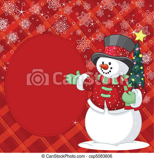 Snowman with Christmas tree place - csp5083606