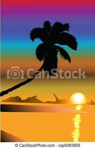 Sunset on the coast - csp5083856