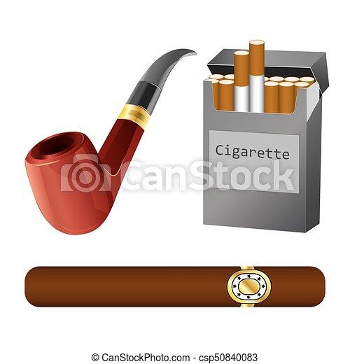 タバコ, セット, パイプ, 葉巻き. セット, 葉巻き, イラスト, タバコ ...