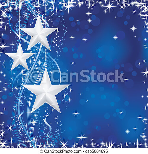 Christmas / winter background with stars, snow flakes and wavy lines on blue background with light dots for your festive occasions. No transparencies. - csp5084695