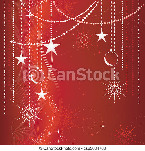 Festive red Christmas background with stars, snow flakes, baubles and grunge elements. - csp5084783