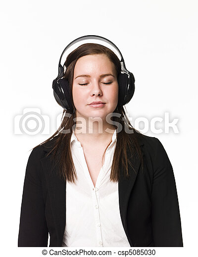 Girl listen to music - csp5085030