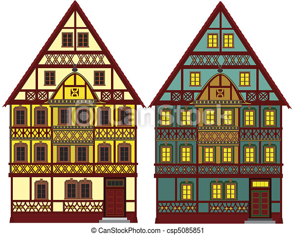 Clipart Of Two Old Farm Houses Isolated These Two Farm Houses Could Csp5085851 Search