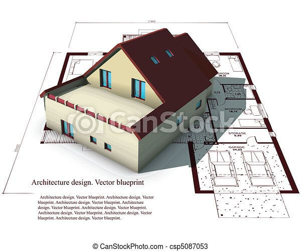 Architecture Model House On Top Of Blueprints - csp5087053