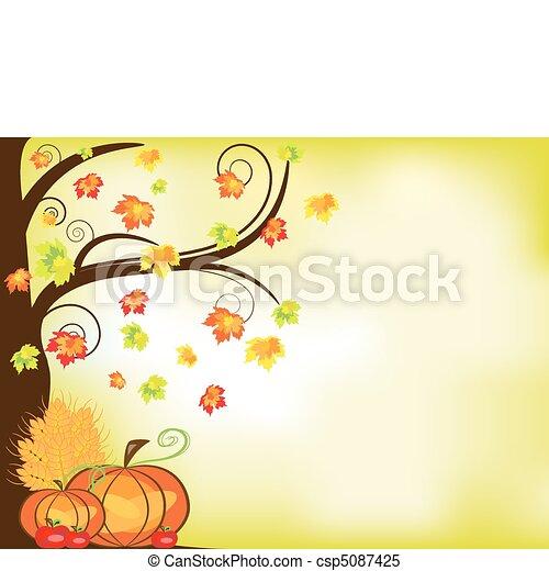 矢量, 图画, 感恩, 背景, 南瓜, 庄稼, 苹果, 树, rgb