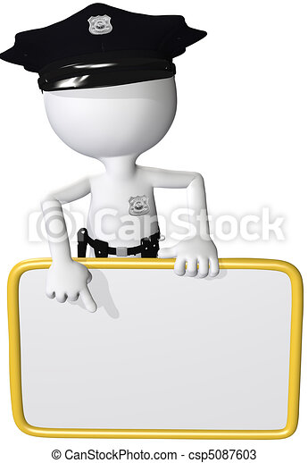 Police security man point at sign copy space - csp5087603