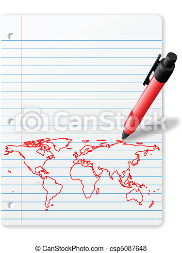 Pen drawing World Map on Notebook Paper red ink - csp5087648