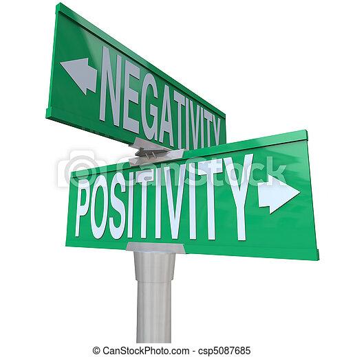 Positivity vs Negativity - Two-Way Street Sign - csp5087685
