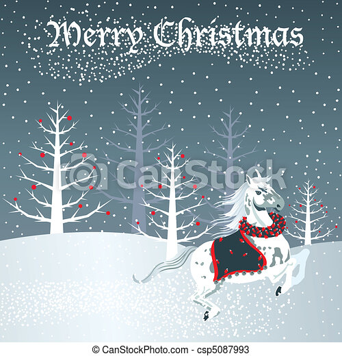 Christmas horse with snow scene - csp5087993