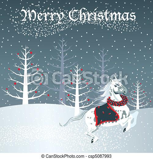 Christmas horse with snow scene - csp5087993