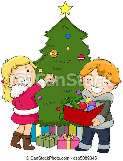 Stock de ilustrationes de decorar ni os rbol navidad - Arbol de navidad para ninos ...