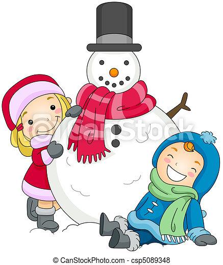 Kids Posing Beside a Snowman - csp5089348