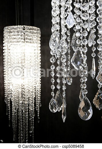 crystal strass lamp white over black background - csp5089458