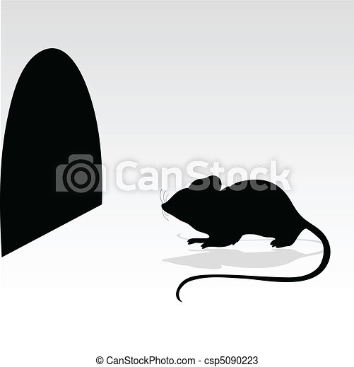 mouse and its hole vector silhouett - csp5090223