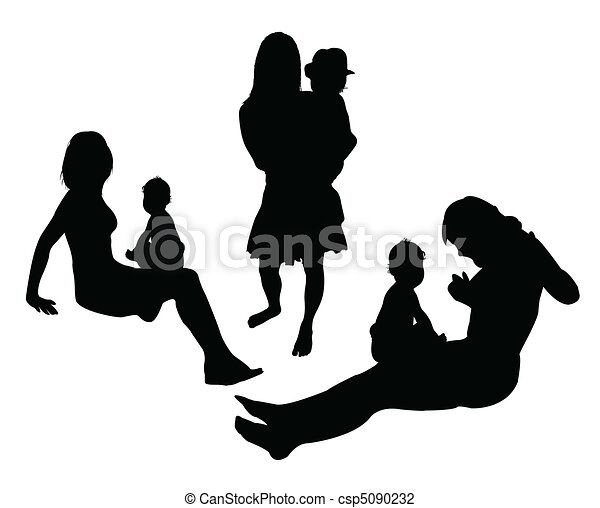mother play with child vector - csp5090232