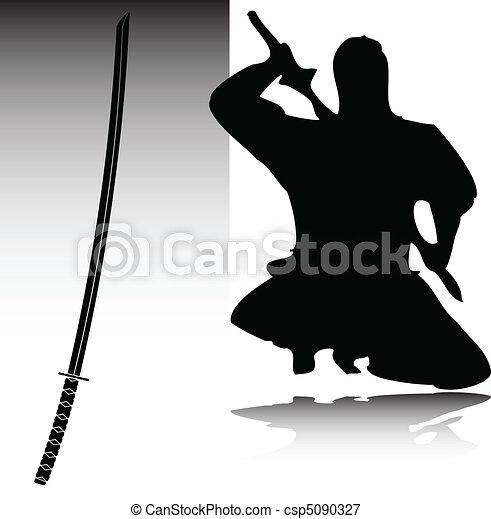 ninja vector silhouettes - csp5090327