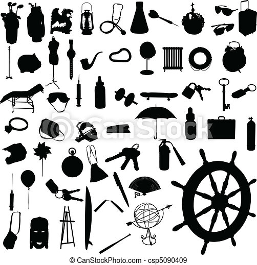 object mix vector silhouettes - csp5090409