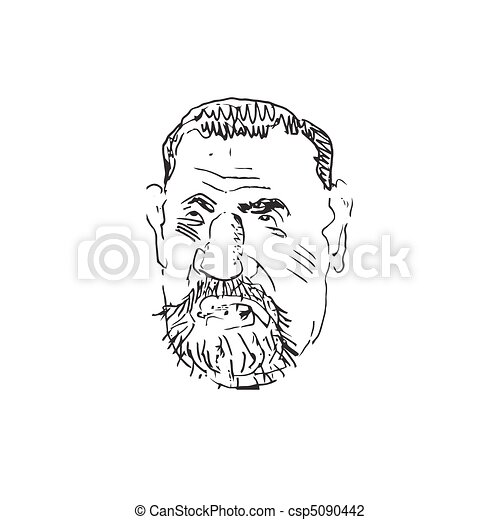 Man's face caricature. Vector  - csp5090442
