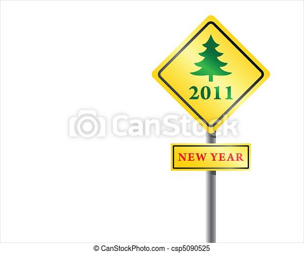 Roadsign New Year fur-tree vector. - csp5090525