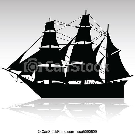old ship sailing vector silhouettes - csp5090609