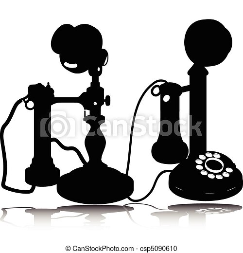 old telephone vector silhouettes - csp5090610